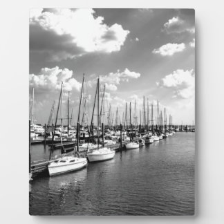 Sailboat Harbor in Black and White Display Plaque