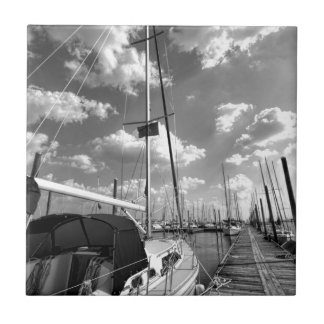 Sailboat in Dock Black and White Small Square Tile