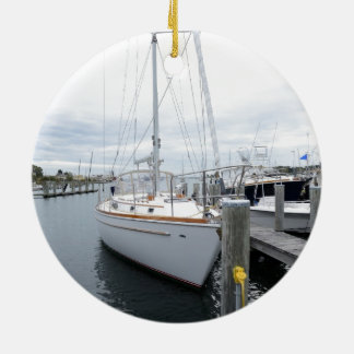 sailboat in harbor ceramic ornament