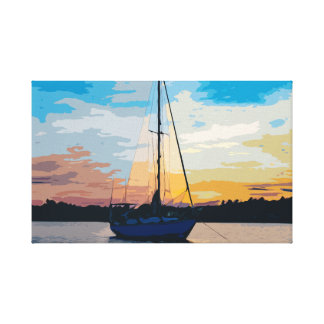 Sailboat in Stunning Sunset Canvas