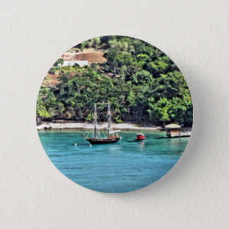 Sailboat in the Bay 6 Cm Round Badge