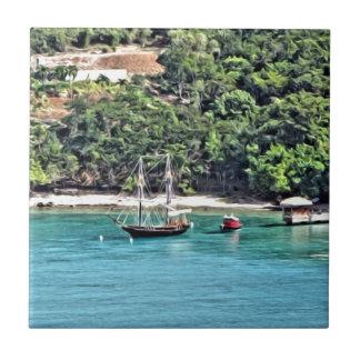 Sailboat in the Bay Tile
