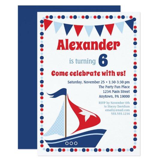 Sailboat Invitation Kids Sail Boat Birthday Party