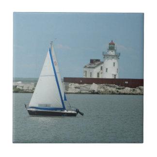 Sailboat & Lighthouse Decorative Tile