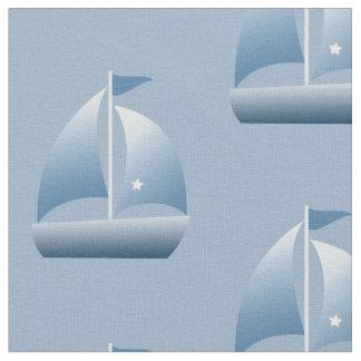 Sailboat Little Sailor Blue Nautical Fabric