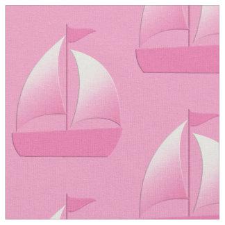 Sailboat Little Sailor Pink Nautical Fabric