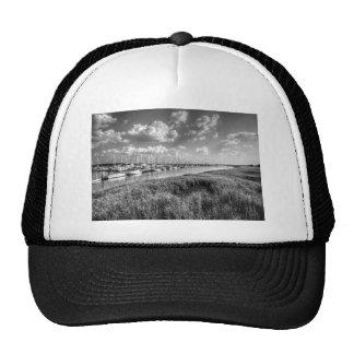 Sailboat Marina and Lush Grasslands Black White Cap