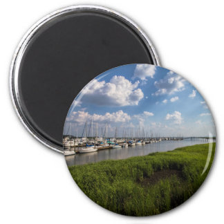 Sailboat Marina and Lush Green Grassland 6 Cm Round Magnet