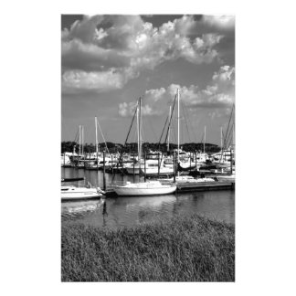Sailboat Marina Landscape in Black and White Customized Stationery