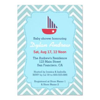 Sailboat Nautical baby shower, Blue Chevron Custom Announcement