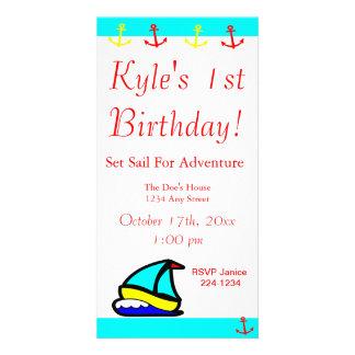 Sailboat Nautical Birthday Photo Card Template