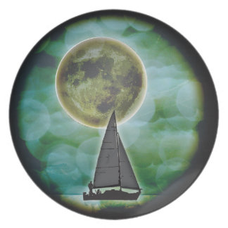 Sailboat Night Scene Plate