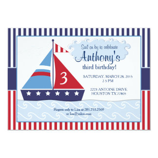 Sailboat/Nuatical Birthday Invitation