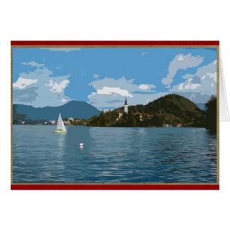 Sailboat on Lake Bled, Slovenia Card