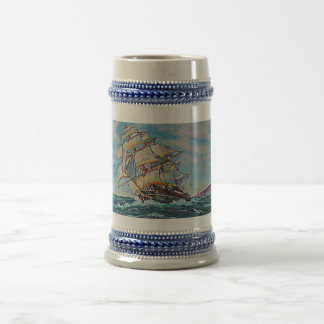 Sailboat on Rough Waters Oil Painting Beer Stein