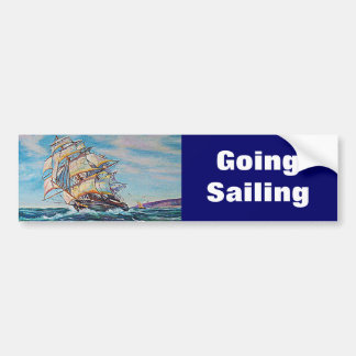 Sailboat on Rough Waters Oil Painting Bumper Sticker