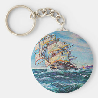 Sailboat on Rough Waters Oil Painting Key Chains