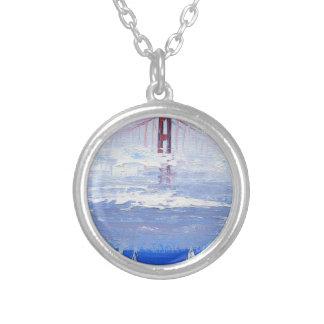Sailboat Original Painting, Golden Gate Bridge Silver Plated Necklace