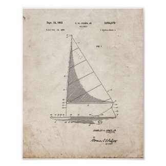 Sailboat Patent - Old Look Poster
