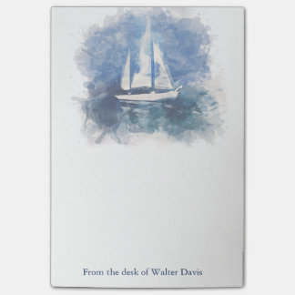 Sailboat Personalized Post It Note Pad