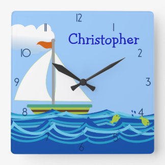 Sailboat Personalized Wall Clock