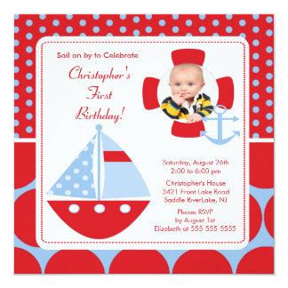 "Sailboat Photo Birthday Invitation 5.25"" Square Invitation Card"
