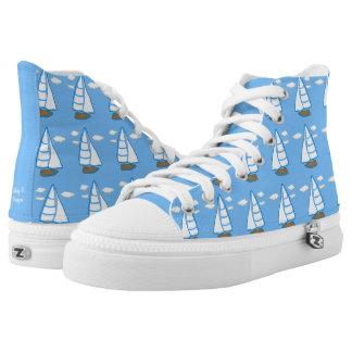 Sailboat Print Nautical Light Blue Shoes Printed Shoes