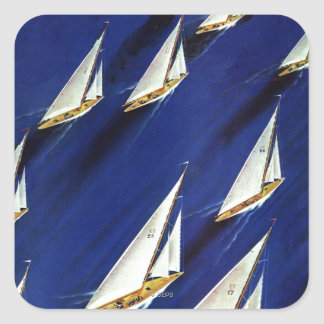 Sailboat Regatta by Ski Weld Square Sticker