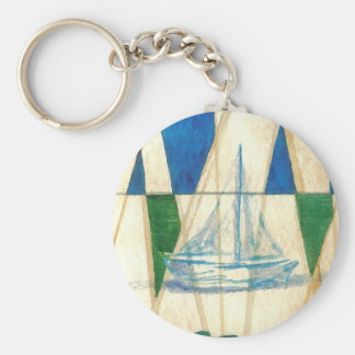 Sailboat Sailing Watercolor Vintage Look Art Basic Round Button Key Ring