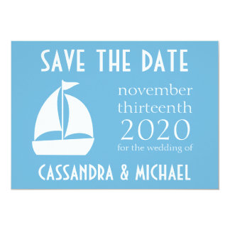 Sailboat Save The Date (Sky Blue) 13 Cm X 18 Cm Invitation Card