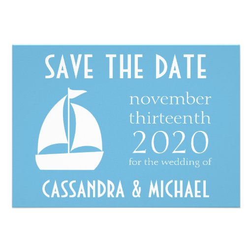 Sailboat Save The Date (Sky Blue) Personalized Invitation