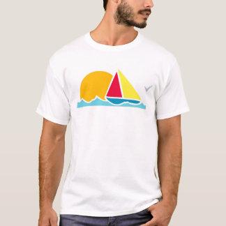 Sailboat Scene White T-Shirt, S M L XL 1X 2X 3X T-Shirt