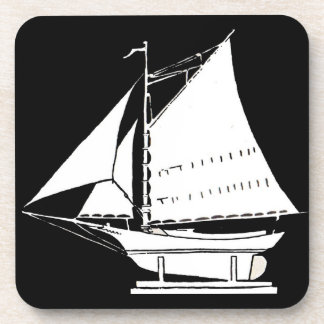 sailboat silhouette print coaster