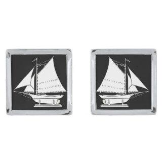 sailboat silhouette silver finish cuff links