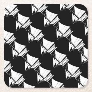 sailboat silhouette square paper coaster