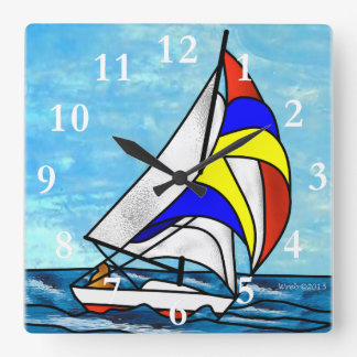 Sailboat Square Wall Clock
