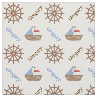 Sailboat & steering wheel nautical personalized fabric