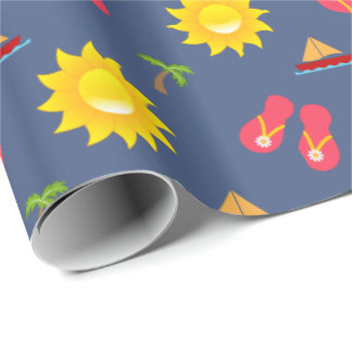 Sailboat Sun Sandals Vacation Wrapping Paper