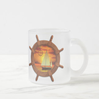 Sailboat Sunset Frosted Glass Mug