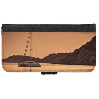 Sailboat Themed, A Boat Approaches The Shore Of Ro iPhone 6 Wallet Case