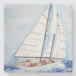 sailboat watercolor stone coaster