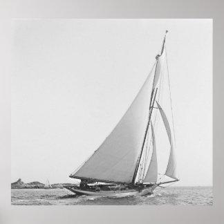 Sailboat Wayward 1890 BW Poster