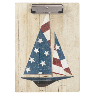Sailboat With American Flag Clipboard