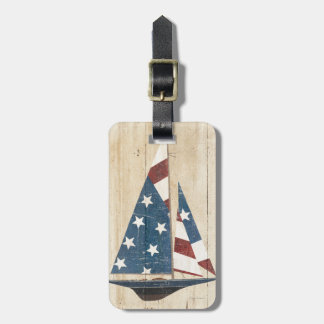 Sailboat With American Flag Luggage Tag