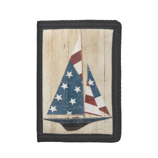 Sailboat With American Flag Trifold Wallets