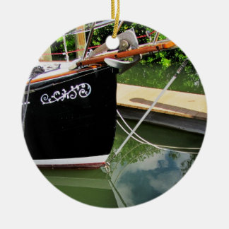 Sailboat with Bow Sprit and Reflections in Water Ceramic Ornament