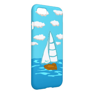 Sailboat with Clouds Blue iPhone 7 Case