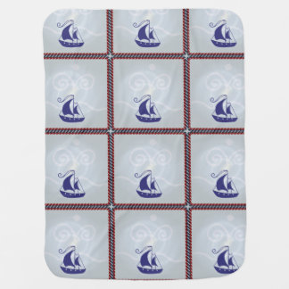 Sailboat with Rope Frame Baby Blanket