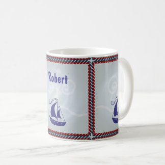 Sailboat with Rope Frame Coffee Mug