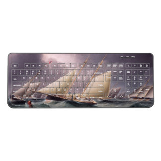 Sailboat Yachts Boat Race Wireless Keyboard